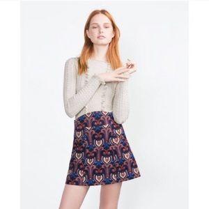 Zara Skirts - Zara Corduroy 70's Retro Print Aline Mini Skirt